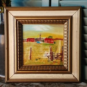 Small Framed Painting Rustic Red Farm